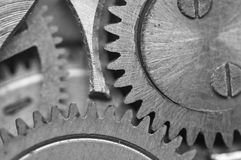 Black-and-white Metal Cogwheels in Clockwork. Royalty Free Stock Photography