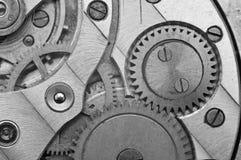 Black-and-white Metal Cogwheels in Clockwork. Macro Royalty Free Stock Image