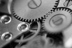 Black white Metallic Background with metal cogwheels a clockwork Stock Photography
