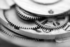 Black white Metallic Background with metal cogwheels a clockwork Stock Image