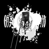Black and White Microphone. Graffiti Black and White Microphone Royalty Free Stock Images