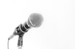 Black and white microphone Stock Images
