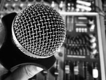 Black and white microphone royalty free stock photo