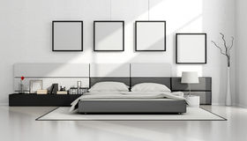 Black and white minimalist bedroom Royalty Free Stock Image