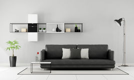 Black and white minimalist lounge Royalty Free Stock Photos