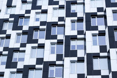 Black white minimalistic bauhaus office building frontage of bus Royalty Free Stock Image
