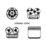 Black and white minimalistic cinema icons Royalty Free Stock Photos