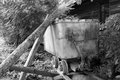 Black and White mining cart Royalty Free Stock Images