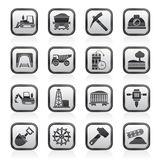 Black and white mining and quarrying industry icons Stock Image