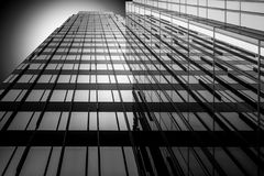 Black and white mirror. Building in Almere, Netherlands Stock Photos