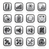 Black an white mobile Phone sign icons Stock Images