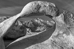 Black and white Mobius Arch. Black and white Mobius Arch in Alabama Hills, Sierra Nevada, California Royalty Free Stock Photos