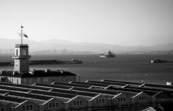 Black & White MOD Dockyard in the Bay of Gibraltar Stock Photo