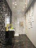 Black and white modern bathroom interior design in mosaic Stock Photos