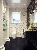 Black and white modern bathroom interior design in mosaic Royalty Free Stock Images