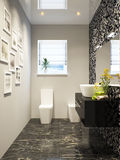 Black and white modern bathroom interior design in mosaic Stock Images