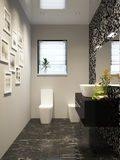 Black and white modern bathroom interior design in mosaic Stock Photo