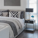 Black and white modern bedroom style with modern bed stock photo