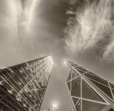 Black and white modern buildings of Hong Kong at night Royalty Free Stock Photos