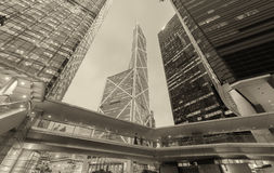 Black and white modern buildings of Hong Kong at night Stock Photography