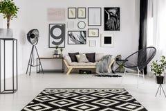 Black and white modern interior stock image