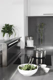 Black and white modern kitchen with stylish furniture Royalty Free Stock Photos