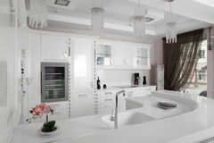Black and white modern kitchen with stylish furniture Royalty Free Stock Image