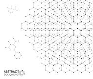 Black and white molecular hexagonal grid vector chemistry abstract background. Black and white molecular hexagonal grid vector chemistry abstract on white Royalty Free Stock Image