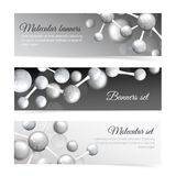 Black and white molecule banners set Stock Photography