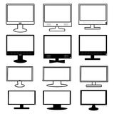 Black and white monitor icon set Royalty Free Stock Image