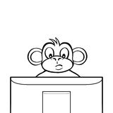 Black and white monkey behind screen Royalty Free Stock Photos