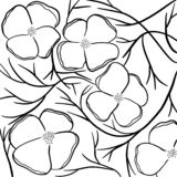 Pattern with decorative flowers and leaves isolated on white background. stock illustration