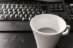Black White Monochrome Coffee Cup Morning Keyboard Workspace Des Stock Photography