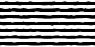 Black and white monochrome horizontal brush strokes striped seamless pattern. Elegant pattern for background, textile stock illustration