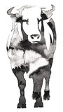Black and white monochrome painting with water and ink draw bull illustration Royalty Free Stock Photo