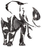 Black and white monochrome painting with water and ink draw elephant illustration Royalty Free Stock Images