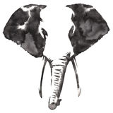 Black and white monochrome painting with water and ink draw elephant illustration Royalty Free Stock Photo