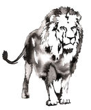 Black and white monochrome painting with water and ink draw lion illustration Royalty Free Stock Photo