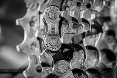 Black And White, Monochrome Photography, Close Up, Bicycle Chain Royalty Free Stock Images