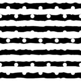 Black and white monochrome polka dot and horizontal brush strokes striped seamless pattern. Elegant pattern for royalty free illustration