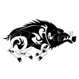 Black and white monochrome wild boar Stock Photo