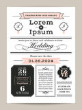 Black and white monogram wedding invitation template Royalty Free Stock Photo