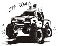 Not colored truck in dirt with words. Black and white monster truck driving in dirt with splashes under the words Royalty Free Stock Photography
