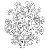 Black and white monsters in the style of a doodle. Coloring pages for adults. Vector illustration Stock Images