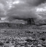 Black and White Monument Valley Cloudy Skies Royalty Free Stock Photos