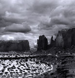 Black and White Monument Valley Cloudy Skies Royalty Free Stock Photography
