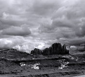 Black and White Monument Valley Cloudy Skies Royalty Free Stock Images