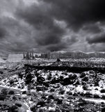 Black and White Monument Valley Cloudy Skies Stock Photos