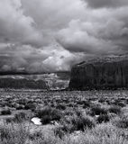 Black and White Monument Valley Cloudy Skies Royalty Free Stock Photo