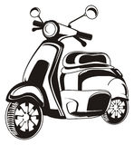 Black and white moped. One black and white moped on a white background Stock Photography